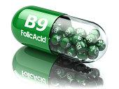 Pills with b9 folic acid element. Dietary supplements. Vitamin capsules. 3d