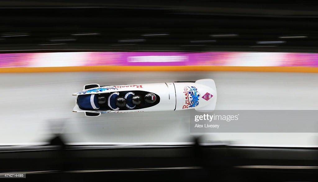 Pilot Alexander Kasjanov, Ilvir Huzin, Maxim Belugin and Aleksei Pushkarev of Russia team 2 make a run during the Men's Four Man Bobsleigh heats on Day 15 of the Sochi 2014 Winter Olympics at Sliding Center Sanki on February 22, 2014 in Sochi, Russia.