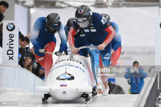Pilot Alexander Kasjanov of Russia competes with Aleksei Pushkarev Vasiliy Konsratenko and Alexey Zaitsev in the 4man Bobsleigh during the BMW IBSF...