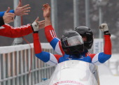 Pilot Alexandr Zubkov and Alexey Voevoda of Team Russia 1 celebrates victory after the final run of the men's Bobsleigh World Championship on...