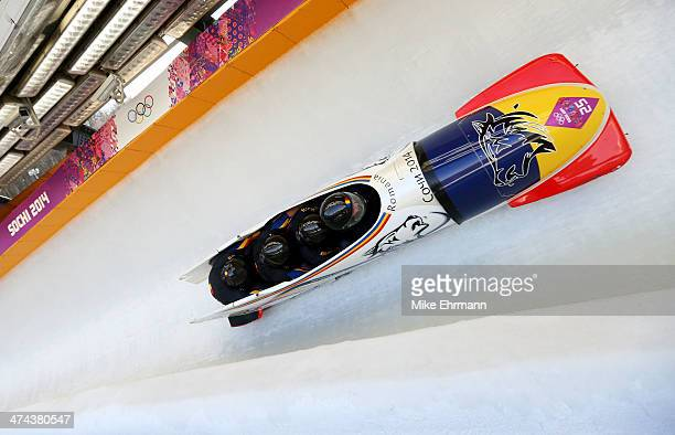 Pilot Andreas Neagu Florin Craciun Paul Muntean and Danut Moldovan of Romania team 1 make a run during the Men's Four Man Bobsleigh on day 16 of the...
