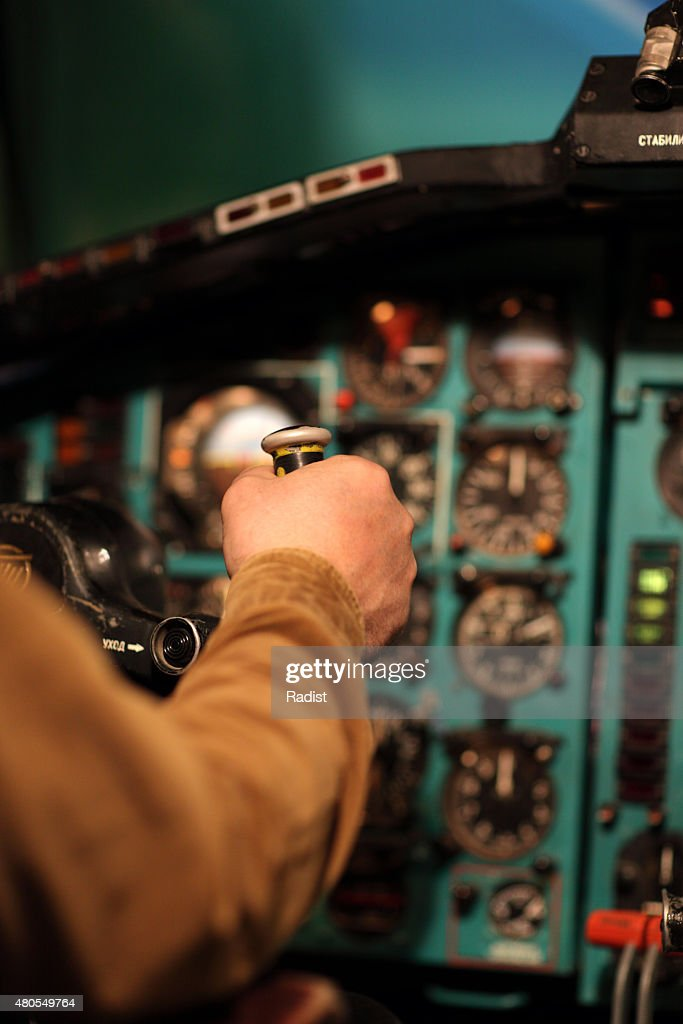 Piloto aviates pelo controlo da coluna : Foto de stock