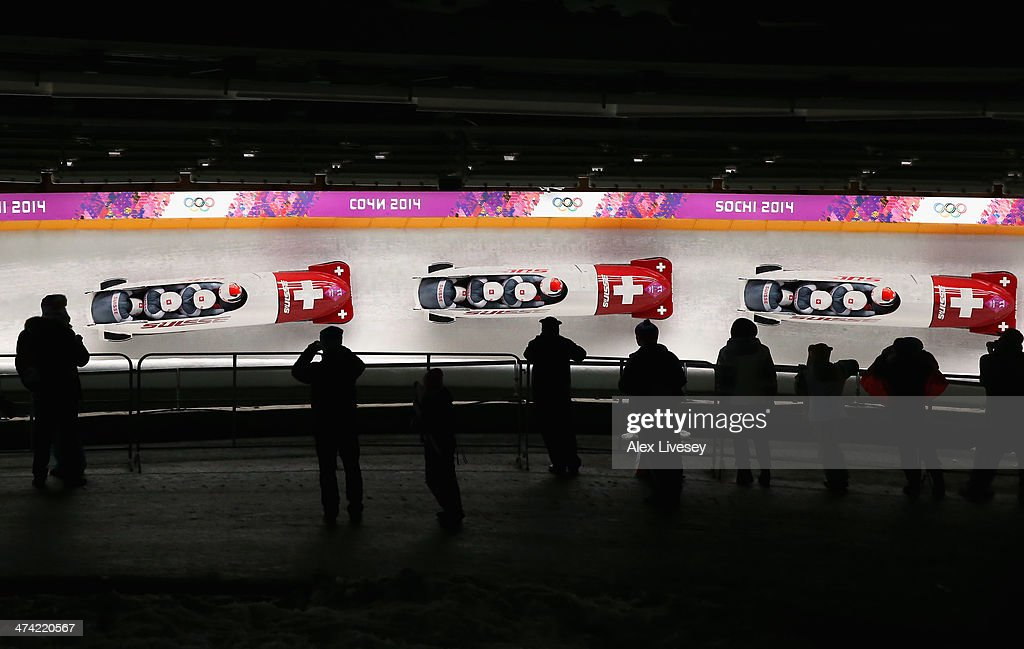 Pilot Beat Hefti, Alex Baumann, Juerg Egger and Thomas Lamparter of Switzerland team 1 during the Men's Four Man Bobsleigh heats on Day 15 of the Sochi 2014 Winter Olympicsat Sliding Center Sanki on February 22, 2014 in Sochi, Russia.