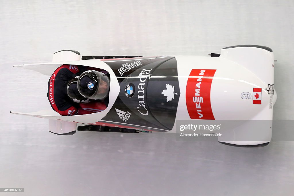 Pilot Chris Spring and Alexander Kopacz of Canada compete during the Viessmann FIBT Bob World Cup at Deutche Post Eisarena on January 17 2015 in...