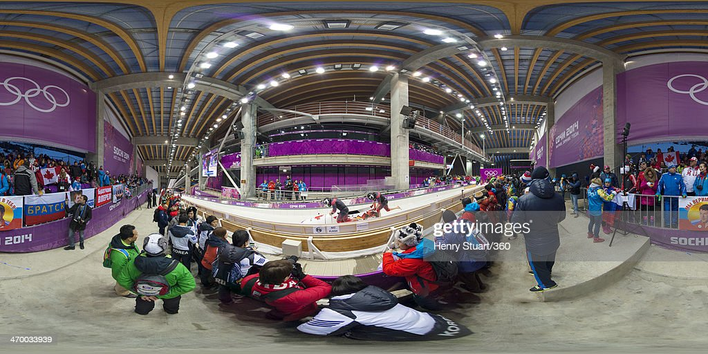 Pilot Chris Spring and Jesse Lumsden of Canada team 2 make a run during the Men's TwoMan Bobsleigh heats on Day 10 of the Sochi 2014 Winter Olympics...