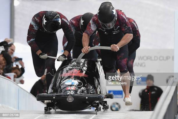 Pilot Chris Spring of Canada competes with Cameron Stones Joshua Kirkpatrick and Neville Wright in the 4man Bobsleigh during the BMW IBSF World Cup...