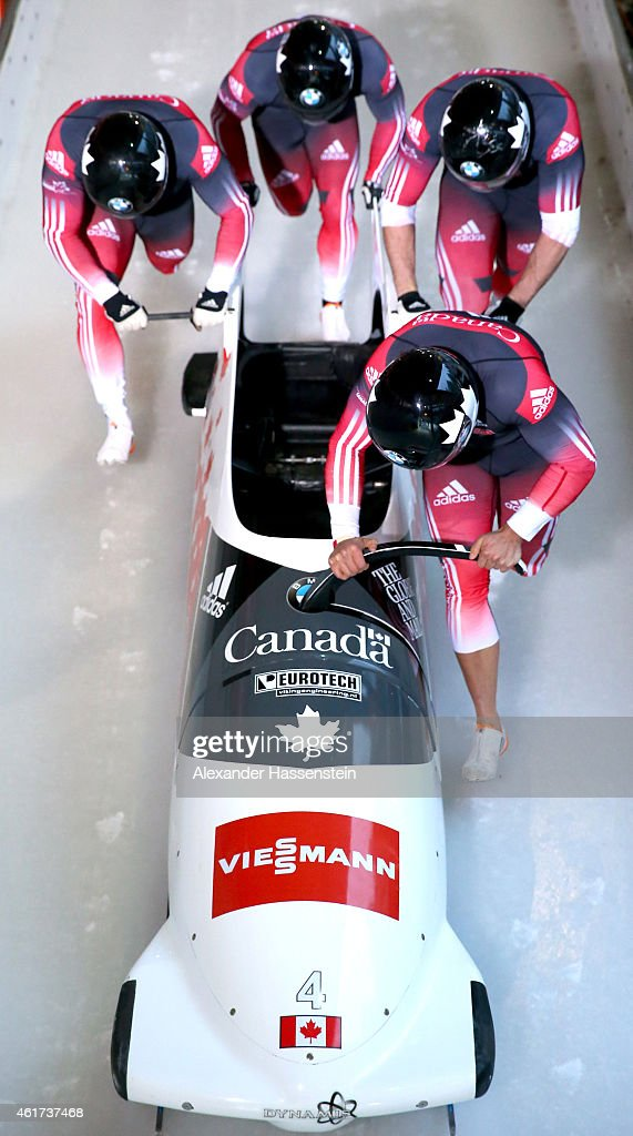 Pilot Chris Spring of Canada competes with Toby Olubi Jordan Smallin and Andrew Matthew during the Viessmann FIBT Bob World Cup at Deutsche Post...