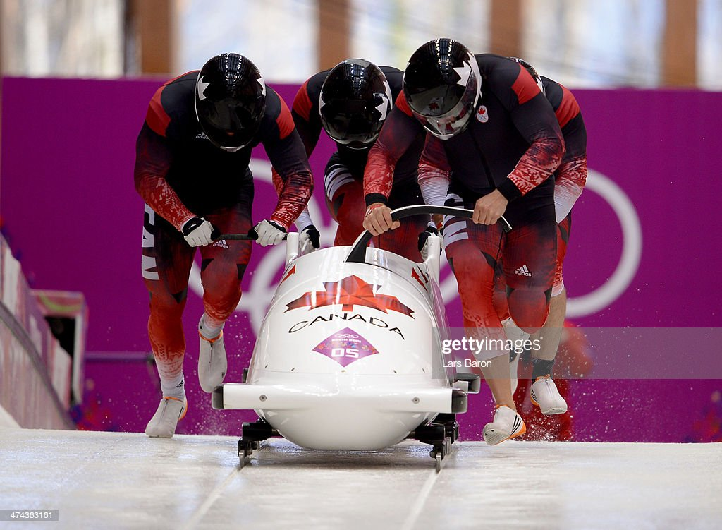 Pilot Chris Spring Timothy Randall James McNaughton and Bryan Barnett of Canada team 1 make a run during the Men's FourMan Bobsleigh on Day 16 of the...