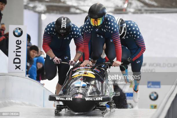 Pilot Codie Bascue of the USA competes with Brent Fogt Luis Moreira and Adrian Adams in the 4man Bobsleigh during the BMW IBSF World Cup Bob Skeleton...