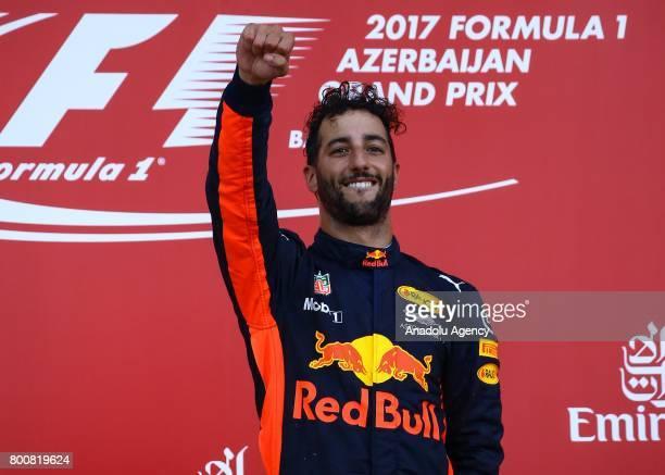 Pilot Daniel Ricciardo of Australia and Red Bull Racing celebrates his victory after the Azerbaijan Formula One Grand Prix at Baku City Circuit on...