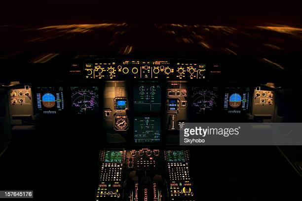 Pilot dashboard during a night flight