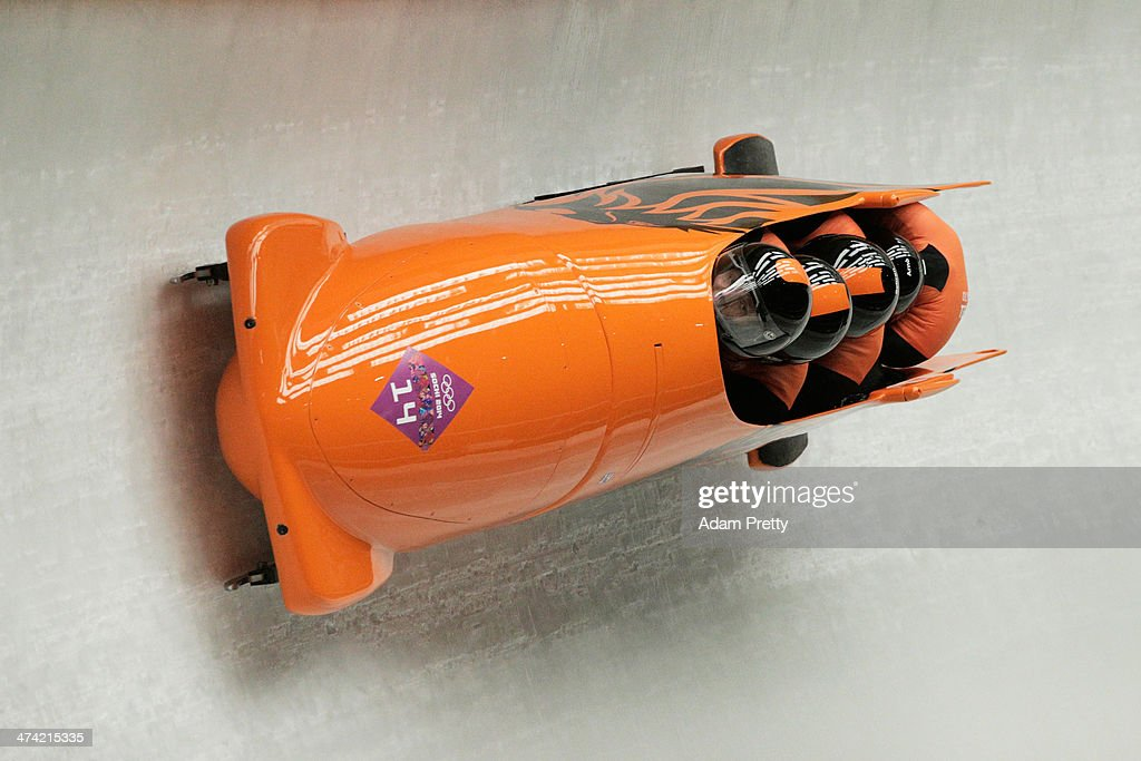 Pilot Edwin van Calker, Bror van der Zijde, Sybren Jansma and Arno Klaassen of the Netherlands team 1 make a run during the Men's Four Man Bobsleigh heats on Day 15 of the Sochi 2014 Winter Olympics at Sliding Center Sanki on February 22, 2014 in Sochi, Russia.