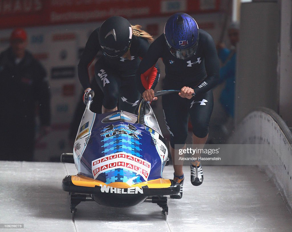 Pilot <a gi-track='captionPersonalityLinkClicked' href=/galleries/search?phrase=Elana+Meyers+-+Bobsledder&family=editorial&specificpeople=5631239 ng-click='$event.stopPropagation()'>Elana Meyers</a> and Jamie Greubel of Team USA 3 starts at teh second run of the women's Bobsleigh World Championship on February 18, 2011 in Koenigssee, Germany.