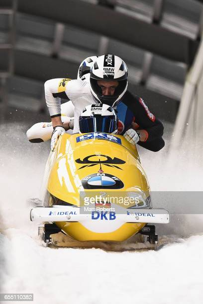 Pilot Francesco Friedrich of Germany competes with Candy Bauer Jannis Baecker and Thorsten Margis in the 4man Bobsleigh during the BMW IBSF World Cup...