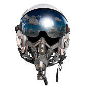 Pilot helmet for air force military fighter plane and sky reflection isolated on white background with clipping path