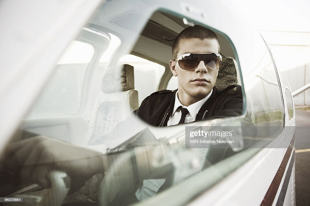 Pilot in the cockpit of an airplane, South Africa