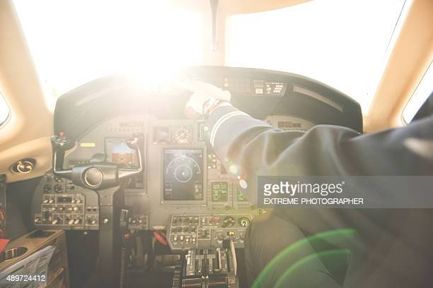 Pilot in the private jet airplane