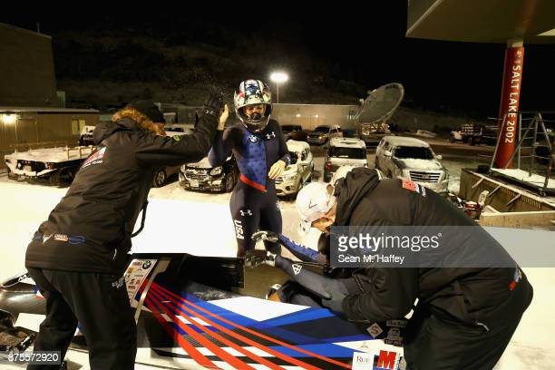 Pilot Jamie Greubel Poser and Lauren Gibbs of the USA react to winning the Women's Bobsled during the BMW IBSF Bobsleigh and Skeleton World Cup at...