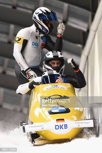 Pilot Johannes Lochner of Germany competes with Matthias Sommer Joshua Bluhm and Christian Rasp in the 4man Bobsleigh during the BMW IBSF World Cup...