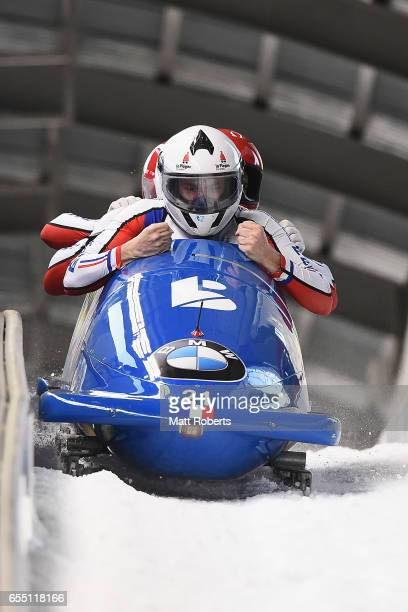 Pilot Loic Costerg of France competes with Dorian Hauterville Yannis Pujar and Jeremie Boutherin in the 4man Bobsleigh during the BMW IBSF World Cup...