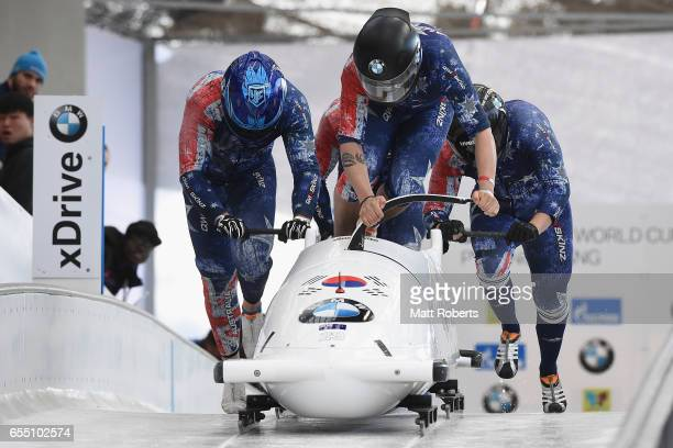 Pilot Lucas Mata of Australia competes with Chris Gudzowsky Lachlan Reidy and David Mari in the 4man Bobsleigh during the BMW IBSF World Cup Bob...