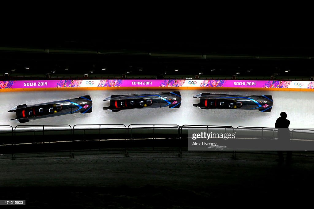 Pilot Maximilian Arndt, Marko Huebenbecker, Alexander Roediger and Martin Putze of Germany team 1 make a run during the Men's Four Man Bobsleigh heats on Day 15 of the Sochi 2014 Winter Olympicsat Sliding Center Sanki on February 22, 2014 in Sochi, Russia.