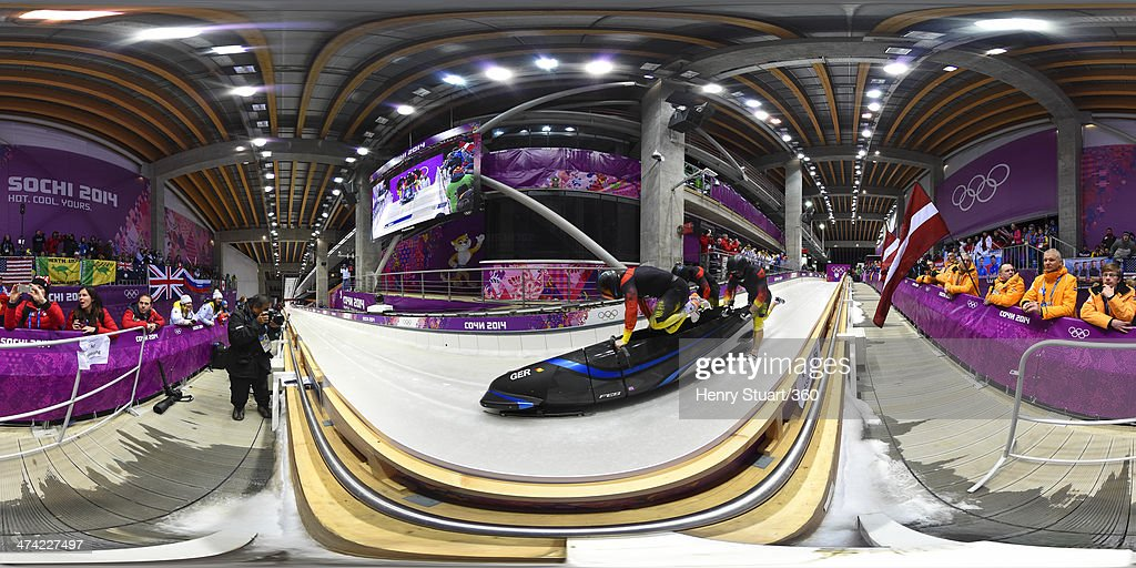 Pilot Maximilian Arndt, Marko Huebenbecker, Alexander Roediger and Martin Putze of Germany team 1make a run during the Men's Four Man Bobsleigh heats on Day 15 of the Sochi 2014 Winter Olympics at Sliding Center Sanki on February 22, 2014 in Sochi, Russia.
