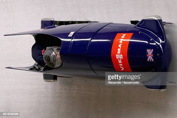 Pilot Mica McNeill and Aleasha Kiddle of Great Britain compete duringe the Viessmann FIBT World Cup at Deutche Post Eisarena on January 16 2015 in...