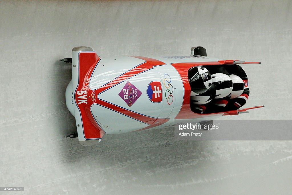 Pilot Milan Jagnesak, Petr Narovec, Lukas Kozienka and Juraj Mokras of Slovakia team 1 make a run during the Men's Four Man Bobsleigh heats on Day 15 of the Sochi 2014 Winter Olympics at Sliding Center Sanki on February 22, 2014 in Sochi, Russia.