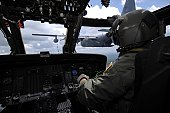 Pilot monitors the flight instruments in his HH-60 Pave Hawk during an aerial refueling mission with a C-130 Hercules June 27.  The mission was being filmed by a video production team for the Air Forc