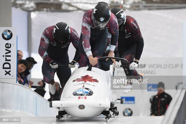 Pilot Nick Poloniato of Canada competes with Daniel Sunderland Derek Plug and Lascelles Brown in the 4man Bobsleigh during the BMW IBSF World Cup Bob...