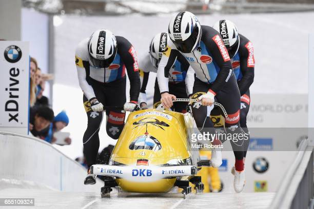Pilot Nico Walther of Germany competes with Alexander Roediger Kevin Korona and Eric Franke in the 4man Bobsleigh during the BMW IBSF World Cup Bob...
