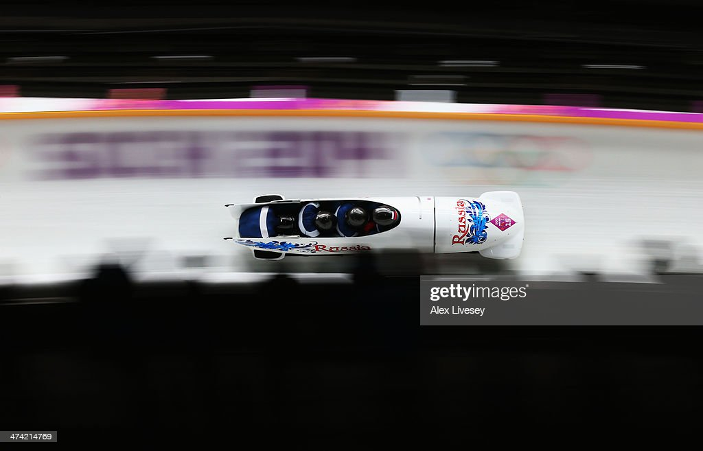 Pilot Nikita Zakharov, Petr Moiseev, Nikolay Khrenkov and Maxim Mokrousov of Russia team 3 make a run during the Men's Four Man Bobsleigh heats on Day 15 of the Sochi 2014 Winter Olympics at Sliding Center Sanki on February 22, 2014 in Sochi, Russia.