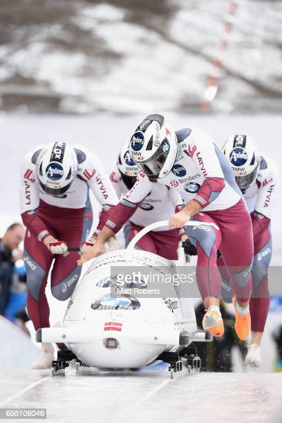 Pilot Oskars Kibermanis of Latvia competes with Janis Jansons Matiss Miknis and Raivis Zirpus in the 4man Bobsleigh during the BMW IBSF World Cup Bob...