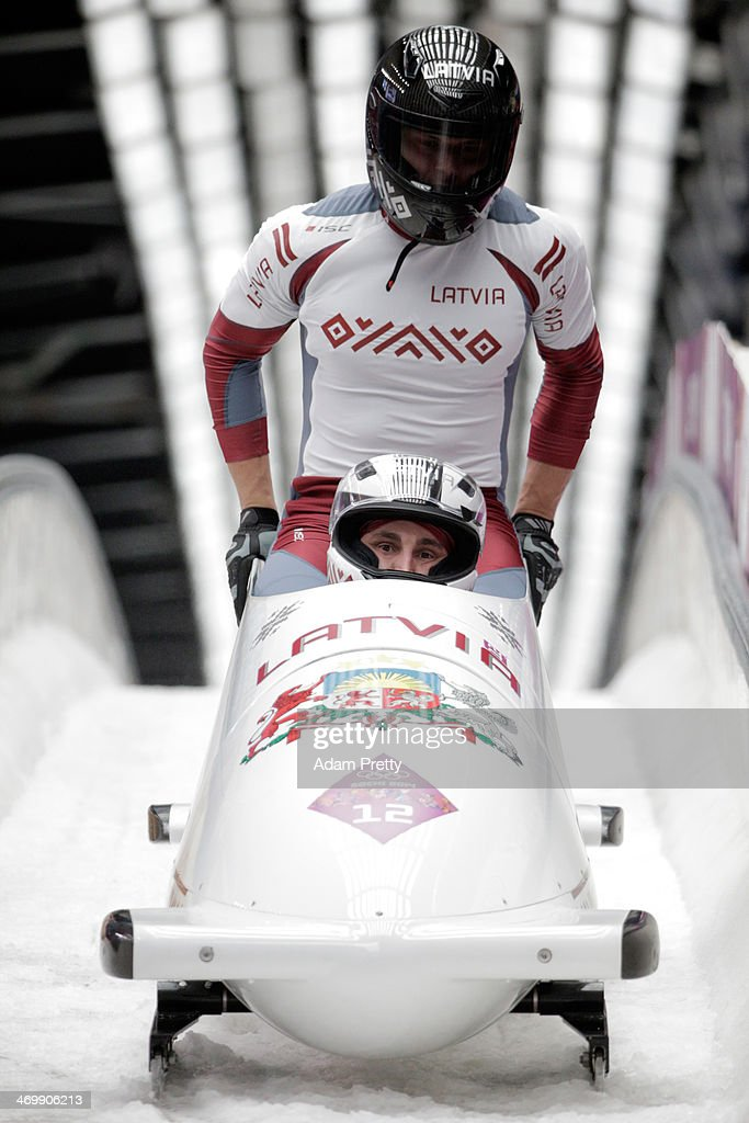 Pilot Oskars Melbardis and Daumants Dreiskens of Latvia team 1 finish a run during the Men's TwoMan Bobsleigh on Day 10 of the Sochi 2014 Winter...