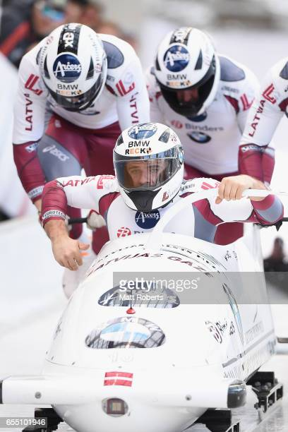 Pilot Oskars Melbardis of Latvia competes with Daumants Dreiskens Arvis Vilkaste and Janis Strenga in the 4man Bobsleigh during the BMW IBSF World...
