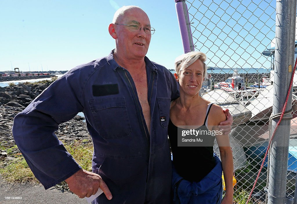 Pilot Peter Maloney (L) and engineer Nina Heatley remain positive after being rescued from Waitemata Harbour after a helicopter crash on May 7, 2013 in Auckland, New Zealand. Both the pilot and a crew member - the only two on board walked away unscathed after their helicopter crashed into Waitemata Harbour in Auckland today. The two were resuced by the navy after the helicopter reportedly lost power and plummeted into the sea.