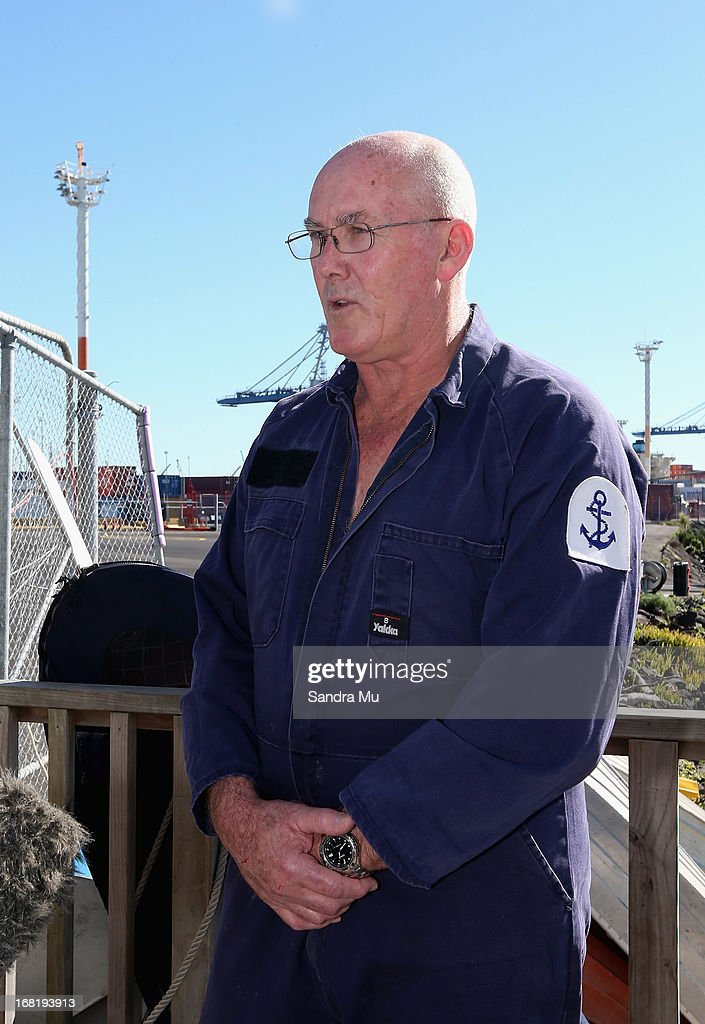 Pilot Peter Maloney speaks to media after being rescued from Waitemata Harbour after a helicopter crash on May 7, 2013 in Auckland, New Zealand. Both the pilot and a crew member - the only two on board walked away unscathed after their helicopter crashed into Waitemata Harbour in Auckland today. The two were resuced by the navy after the helicopter reportedly lost power and plummeted into the sea.