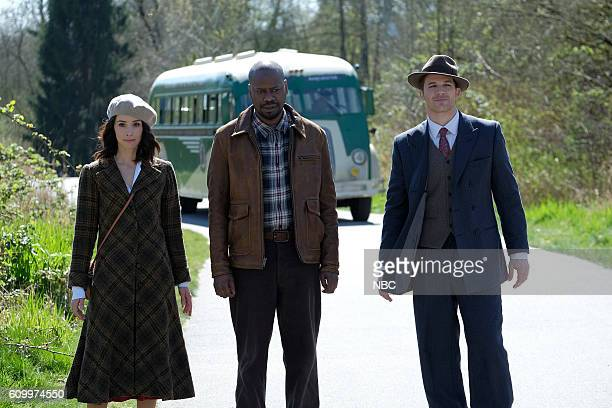 TIMELESS 'Pilot' Pictured Abigail Spencer as Lucy Preston Malcolm Barrett as Rufus Carlin Matt Lanter as Wyatt Logan