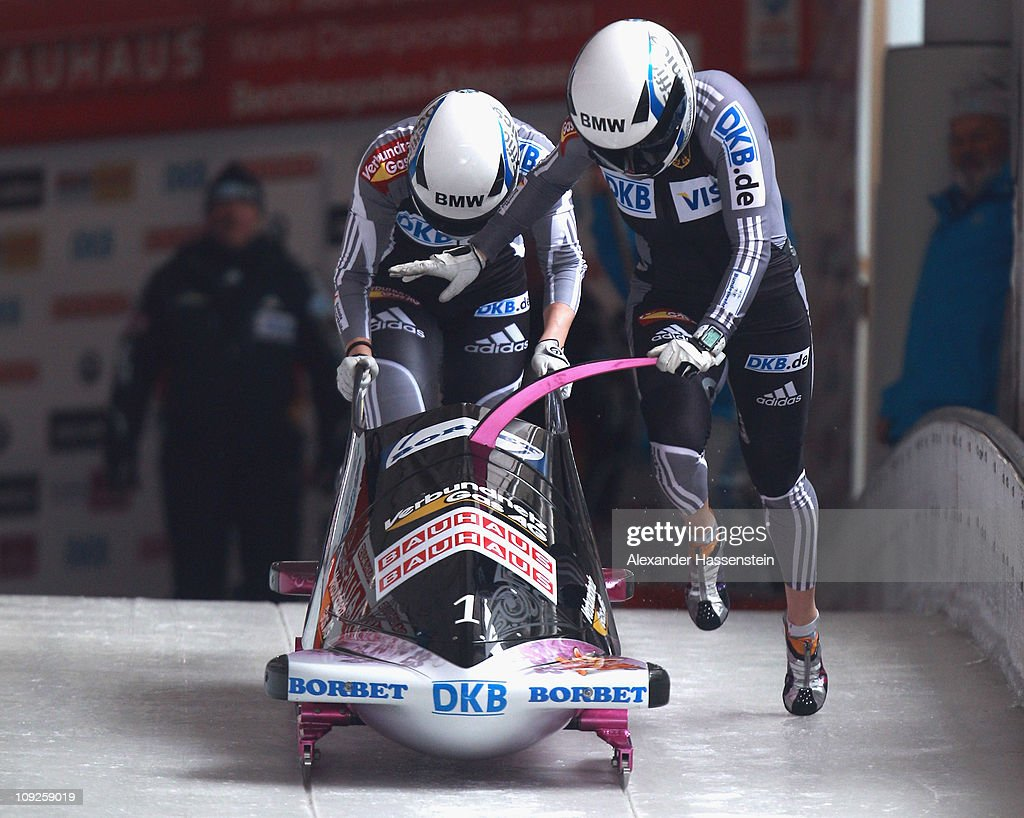 Pilot <a gi-track='captionPersonalityLinkClicked' href=/galleries/search?phrase=Sandra+Kiriasis&family=editorial&specificpeople=211078 ng-click='$event.stopPropagation()'>Sandra Kiriasis</a> and Berit Wiacker of Team Germany 1 starts at the second run of the women's Bobsleigh World Championship on February 18, 2011 in Koenigssee, Germany.