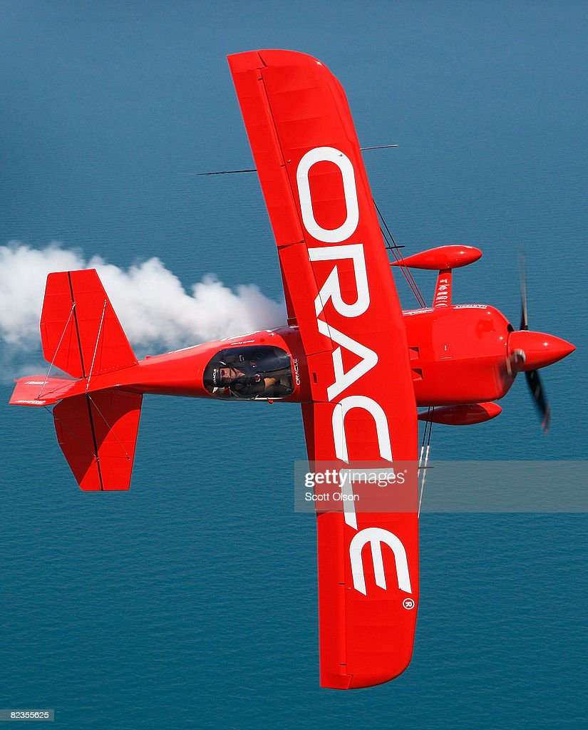 Pilot Sean Tucker flies his biplane as he prepares for this weekend's Air and Water Show August 14, 2008 in Chicago, Illinois. Sean D. Tucker is the team leader for the Collaborators formation aerobatic team.