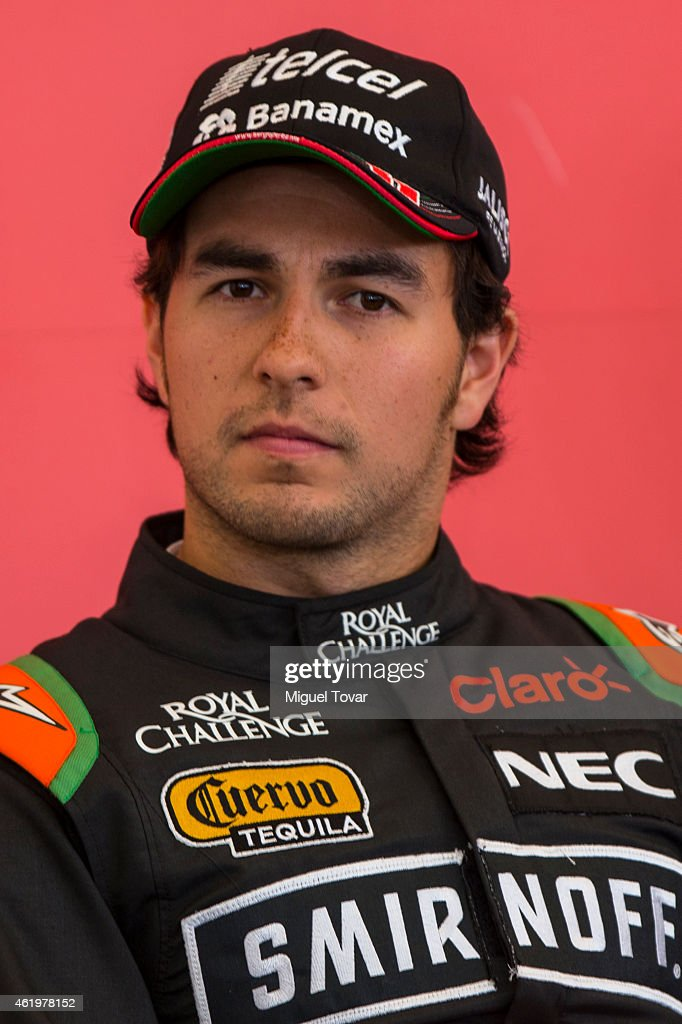 F1 pilot Sergio Checo Perez attends a press conference at the Hermanos Rodriguez Racing Circuit Facilities on January 22, 2015 in Mexico City, Mexico. The Mexico's Grand Prix will take place next November 1st, the Hermanos Rodriguez circuit is under a refurbishment to receive the Formula 1 after 23 years of absence.