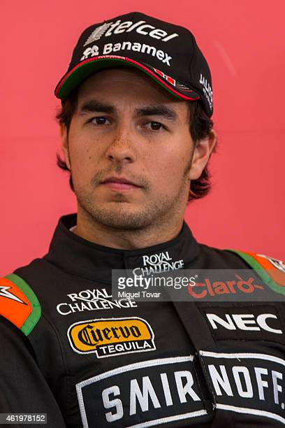 F1 pilot Sergio Checo Perez attends a press conference at the Hermanos Rodriguez Racing Circuit Facilities on January 22 2015 in Mexico City Mexico...