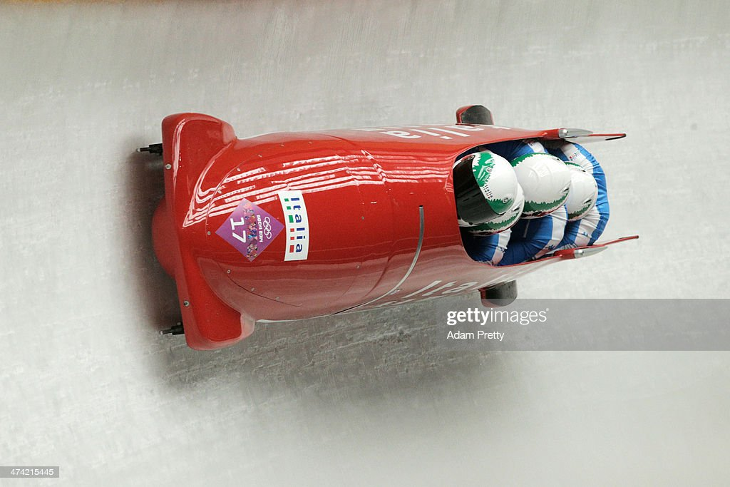 Pilot Simone Bertazzo, Simone Fontana, Samuele Romanini and Francesco Costa of Italy team 1 make a run during the Men's Four Man Bobsleigh heats on Day 15 of the Sochi 2014 Winter Olympics at Sliding Center Sanki on February 22, 2014 in Sochi, Russia.