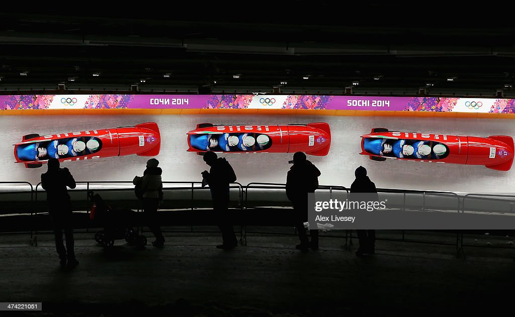 Pilot Simone Bertazzo, Simone Fontana, Samuele Romanini and Francesco Costa of Italy team 1 during the Men's Four Man Bobsleigh heats on Day 15 of the Sochi 2014 Winter Olympicsat Sliding Center Sanki on February 22, 2014 in Sochi, Russia.