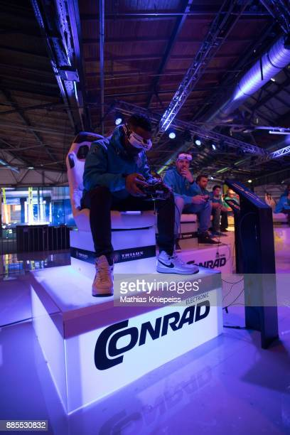 A pilot sits in the cockpit the track at Station Berlin during the DCL Drone Champions League Championship Finals in Berlin on December 02 2017 in...
