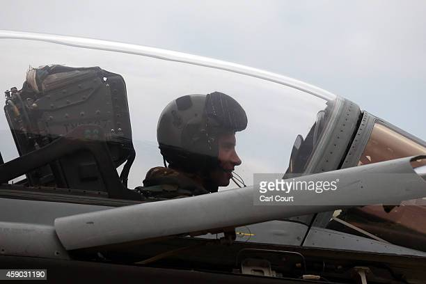A pilot sits inside a Royal Air Force Tornado GR4 arriving on the runway at Royal Air Force Marham on November 15 2014 near the village of Marham in...