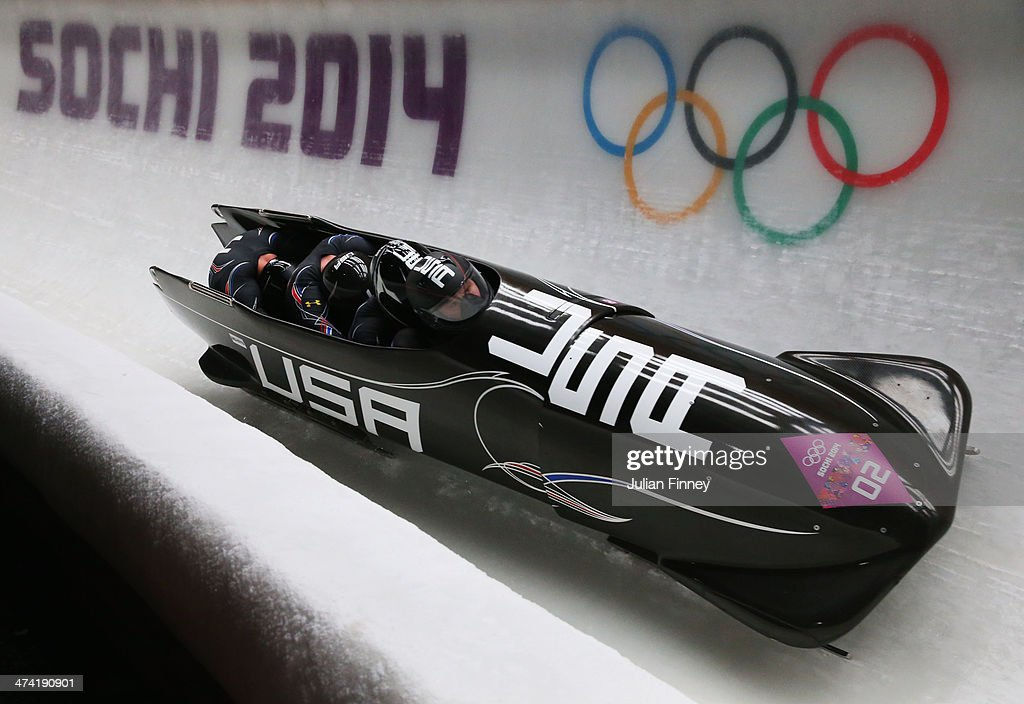 Pilot Steven Holcomb, Curtis Tomasevicz, Steven Langton and Christopher Fogt of the United States team 1 make a run during the Men's Four Man Bobsleigh heats on Day 15 of the Sochi 2014 Winter Olympics at Sliding Center Sanki on February 22, 2014 in Sochi, Russia.
