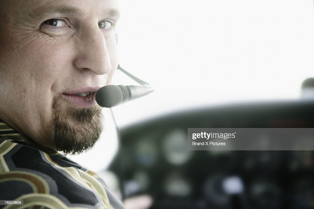 Pilot talking into headset