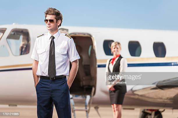Pilot Waiting Outside Corporate Jet